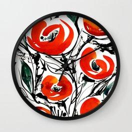 Poppies Galore Wall Clock