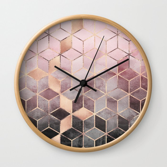 Pink And Grey Gradient Cubes Wall Clock