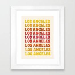 Los Angeles - retro vibes throwback minimal typography 70s colors 1970's LA Framed Art Print
