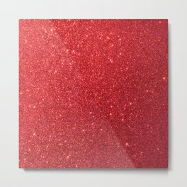 Soft Red Sparkly Valentine Sweetheart Glitter Metal Print