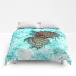 Watercolor Turtle, Green Turtle 13, St John, USVI Comforters