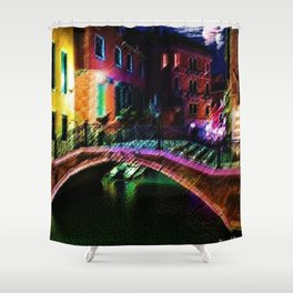 Moonlit night on a Venice Canal Landscape Painting by Jéanpaul Ferro Shower Curtain