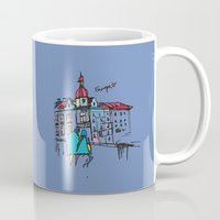 europe Mugs featuring europe by PINT GRAPHICS