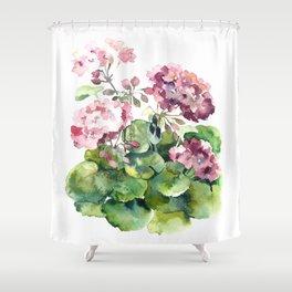 Watercolor pink geranium flowers aquarelle Shower Curtain