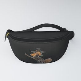 Cute Witch Sits On Her Broom   Halloween Fanny Pack