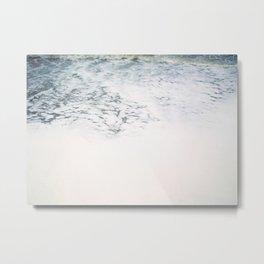 Sea foam - white and blue minimalistic photo of the ocean water Metal Print