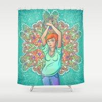 redhead Shower Curtains featuring Minty redhead by mZwonko