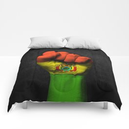 Bolivian Flag on a Raised Clenched Fist Comforters