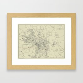 Vintage Map of Jerusalem Israel (1917) Framed Art Print