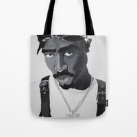 tupac Tote Bags featuring Pop Cult™ - Tupac 2 by Lina Barbarin - Pop Cult™ & Aminals™