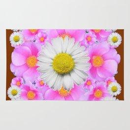 Chocolate Brown Color Shasta Daisies & Rose Pattern Garden Art Rug