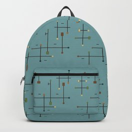 Mid-Century Modern Connected Lines Rectangles Circles Dashed Tech Backpack
