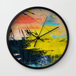 Adventurer: A vibrant abstract mixed-media piece in pink yellow and green by Alyssa Hamilton Art Wall Clock