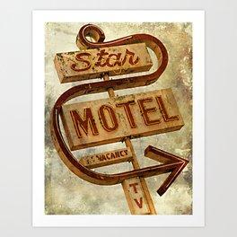 Vintage Grunge Motel Sign Art Print