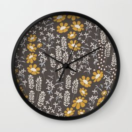 Seamless pattern design with hand drawn flowers and floral elements Wall Clock