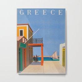 Greece Midcentury Modern Vintage Travel Poster Minimal Style Metal Print