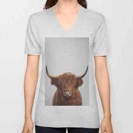 Highland Cow - Colorful Unisex V-Neck