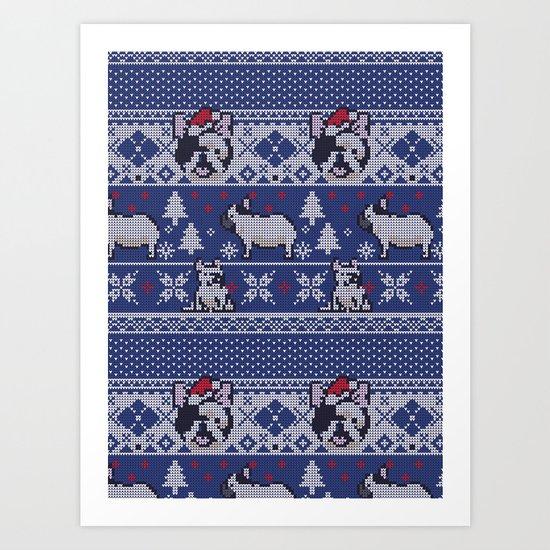 Christmas Frenchie Art Print