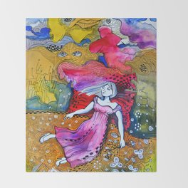 Girl in colorful  Throw Blanket