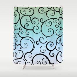 Swirling Blue Shower Curtain