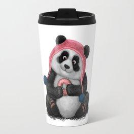 Panda eating a donut Travel Mug