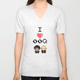 I love 00Q: Stripes Unisex V-Neck
