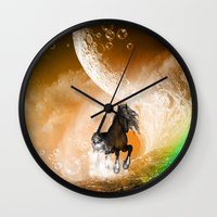 running Wall Clocks featuring Running horse by nicky2342