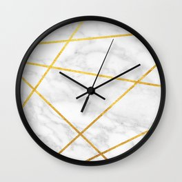 White Carrara marble with gold lines Wall Clock