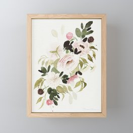 Romantic Loose Rose Bouquet Framed Mini Art Print