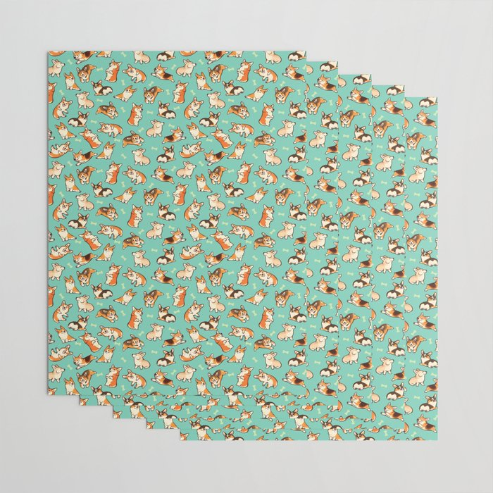 Jolly corgis in green Wrapping Paper