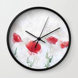 Poppy watercolor Wall Clock