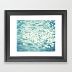 Sparkly Water Abstract Photography, Aqua Blue Sparkle Art Framed Art Print