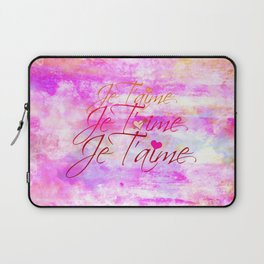 JE T'AIME French Typography Font I Love You Romantic Fine Art Pastel Pink Colorful Abstract Painting Laptop Sleeve