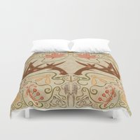 wisconsin Duvet Covers featuring Wisconsin Pattern by Kayla Catherine Illustration