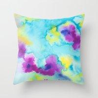 tie dye Throw Pillows featuring Tie-Dye by Tatiana Shaffer