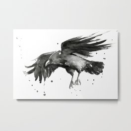 Raven Watercolor Metal Print