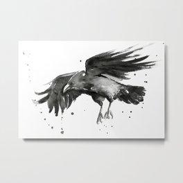 Raven Watercolor Metal Print