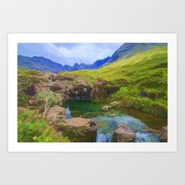 Fairy Pools of Skye Watercolour Art Print