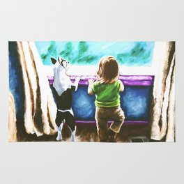 Waiting For Daddy Child Dog Boston Terrier Window Street Trees Toddler Girl Friends Blue Teal Rug