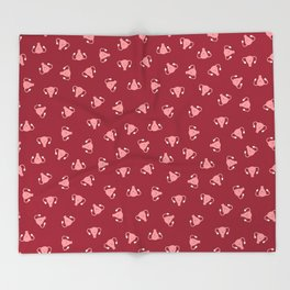 Crazy Happy Uterus in Red, small repeat Throw Blanket