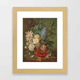 Flowers in a Terra Cotta Vase, Albertus Jonas Brandt, 1810 - 1824 Framed Art Print