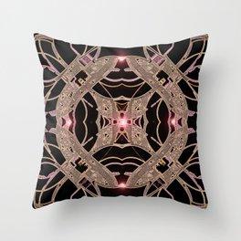 Rose Gold and Copper Futuristic Cross Mandala Throw Pillow