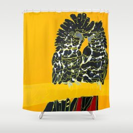 Red-tailed Black Cockatoo pair Shower Curtain