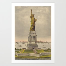 Currier & Ives. - Print c.1885 - Statue of Liberty 1 Art Print