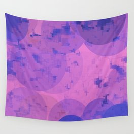 geometric circle and square pattern abstract in pink purple Wall Tapestry