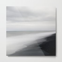 Black Beach, Iceland Abstract Landscape Metal Print