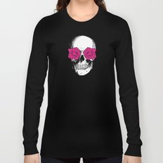 Skull and Roses   Grey and Pink Long Sleeve T-shirt