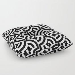 Black And White Pop-Art Circles Floor Pillow
