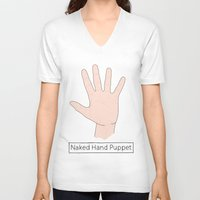 naked V-neck T-shirts featuring Naked by Digital Sketch