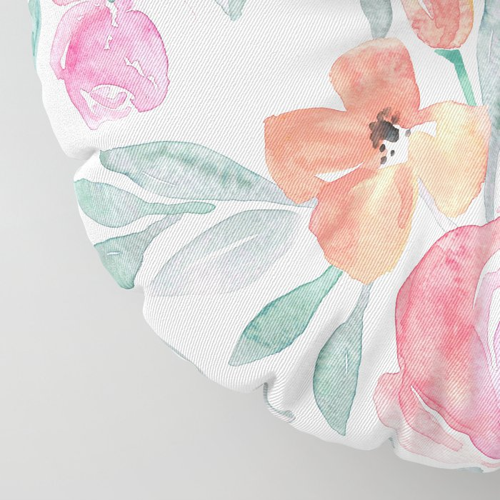 Amelia Floral in Pink and Peach Watercolor Floor Pillow